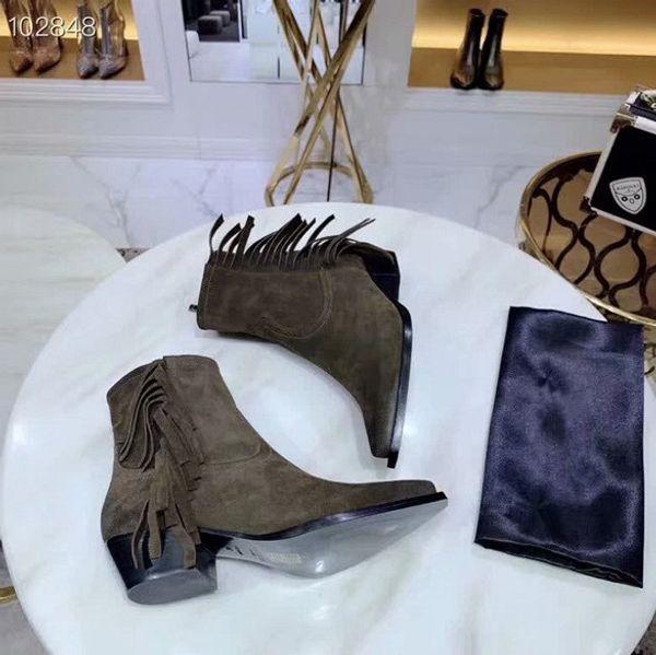 сапоги на лодыжке с бахромой в стиле ретро, дизайнер международного класса, на высоком каблуке, рабочие ботинки 4 см 3 цвета 35-40