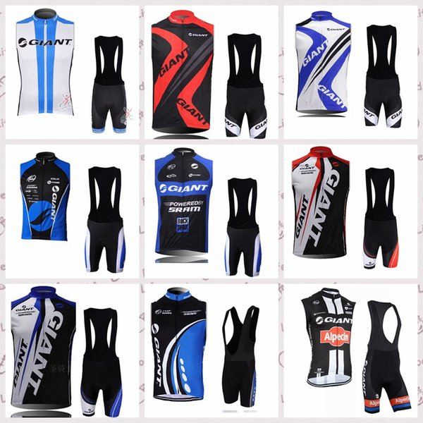 GIANT Team Cycling Sleeveless jersey Vest bib shorts sets mens Summer Sporting Racing Bike Wear Ropa Ciclismo Bicycle clothing Q60655
