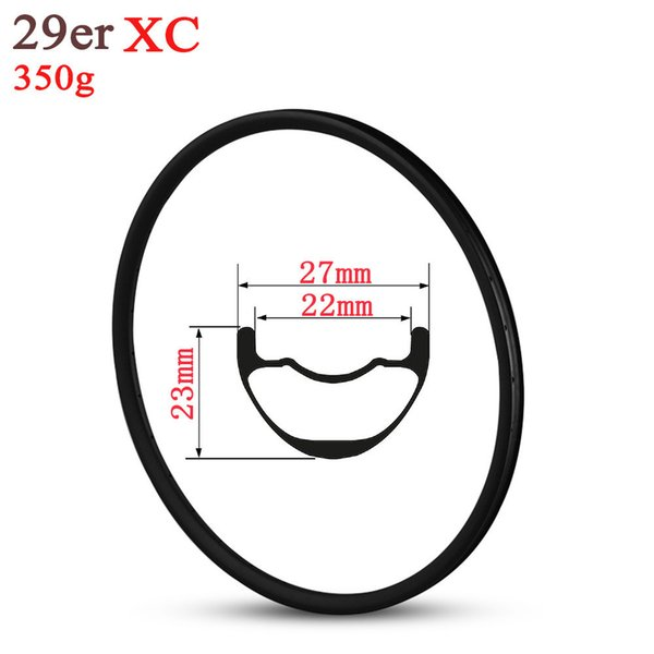 Cerchio in carbonio 29er MTB per ruote XC Cross Country Mountain Bike Stile Hookless 27mm Larghezza Tubeless Ready Super Light 350g Solo