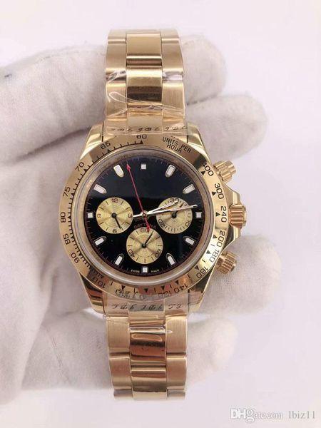 Hot new mens watch Multifunction Automatic Movement Gold-plating Bezel black Metal dial plate Steel Bracelet Wristwatch