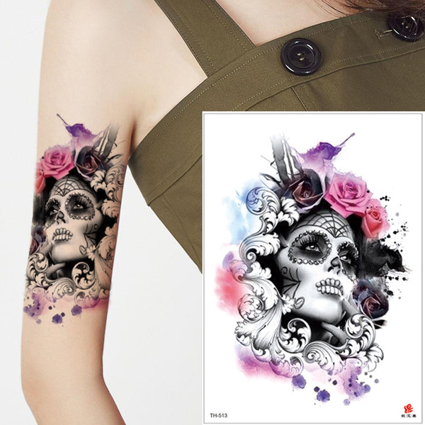 Watercolored Person Painting Temporary Tattoo Sticker Rose Flower Arm Leg Back for Body Transfer Art Tattoo Color Beauty Women Cool Men Gift