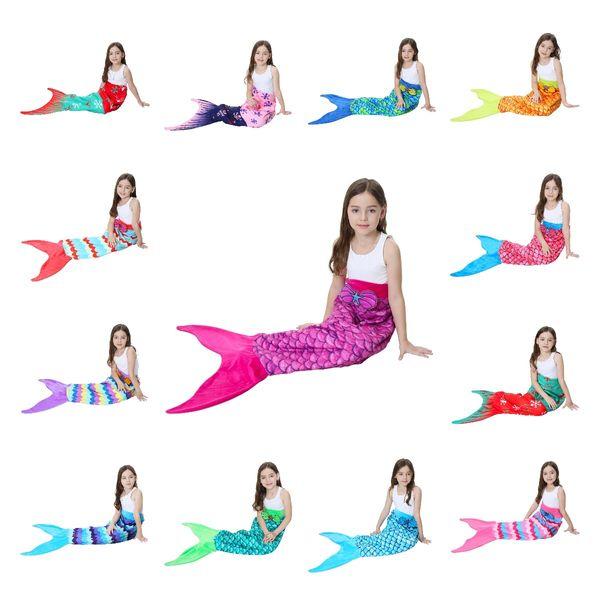 56*135cm Kids Mermaid Tail Blanket Snowflake Printing Blankets Girls children Pattern Home Bed Warm Sleeping Bag 6pcs LJJA3030
