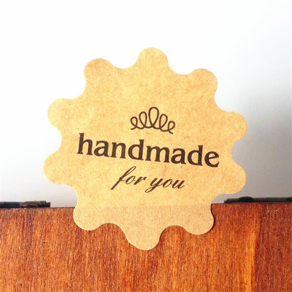 """1000PCS/lot New Flower Round design """"Handmade for you"""" series Kraft paper seal sticker/Christmas DIY note gift Labels retail"""