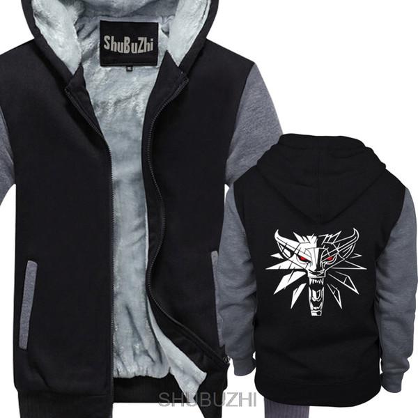 The Witcher Wild Hund Game Wolf Logo Geralt Gamer thick hoodies Mens Black Men hoodie Free Shipping jacket sbz4583