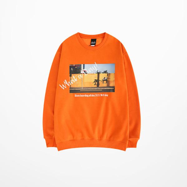 Primavera Japonés Skateboard Pullovers Sudadera Hombres Color Naranja Justin Bieber Propósito Tour Skatebaord High Street Hoodies Hombres