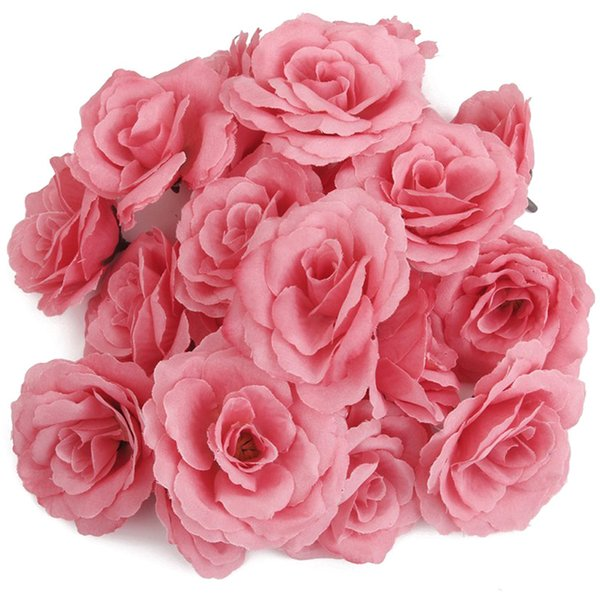 fashion20pcs artificial rose flower head corolla diy wedding decoration diameter of 65mm - pink