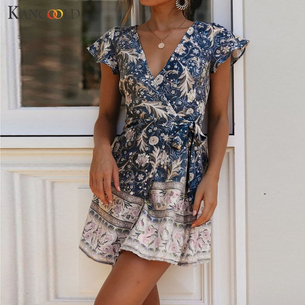 M220 KANCOOLD vestido Mulheres Sexy Boho Casual cintura alta Bohemia Imprimir Vestido de Verão V pescoço Estilo Nacional Midi mulheres vestido 2019Mar27