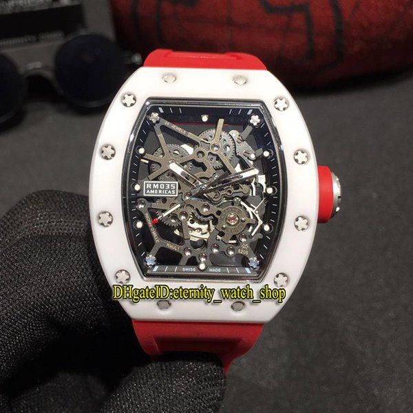 Best version RM 035 GOLD AND CERAMIC White Ceramics Case Skeleton Dial Miyota Automatic RM035 Mens Watch Red Rubber Strap Sport Watches