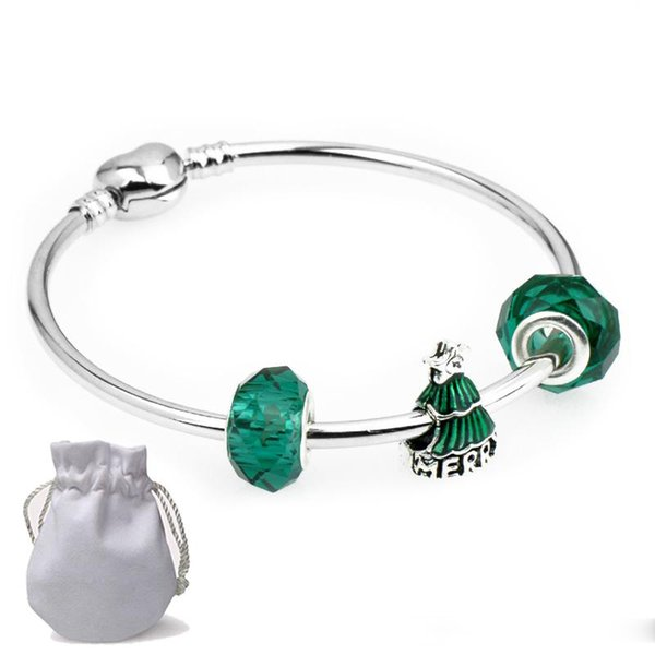 Shining Stainless Steel Charms Bracelets Fit Pandora Girl Boy Green Tree Glass Beads Silver Bangle Jewelry Christmas gift Children