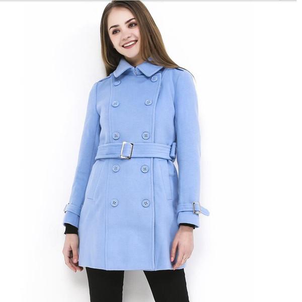 #9085 Winter Long Sleeve Wool Jacket Women Casual Outwear Female Double Breasted Overcoat Femme With Belt Tops Lady Streetwear