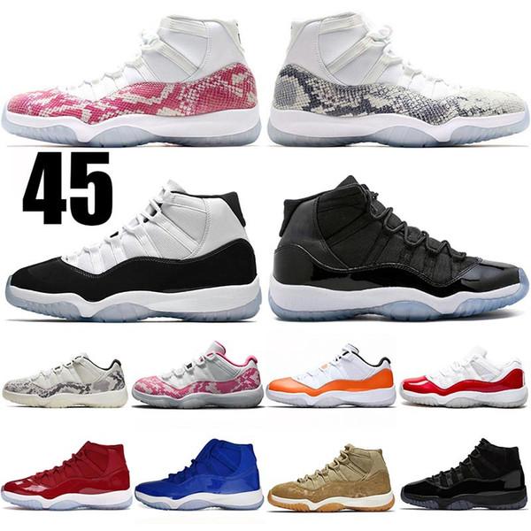 JUMPMAN Snakeskin 11 Concord Space Jam 11 Низкие баскетбольные кроссовки 11s Платиновый оттенок Bred High Cap и платье Выиграть как мужские женщины 5-13