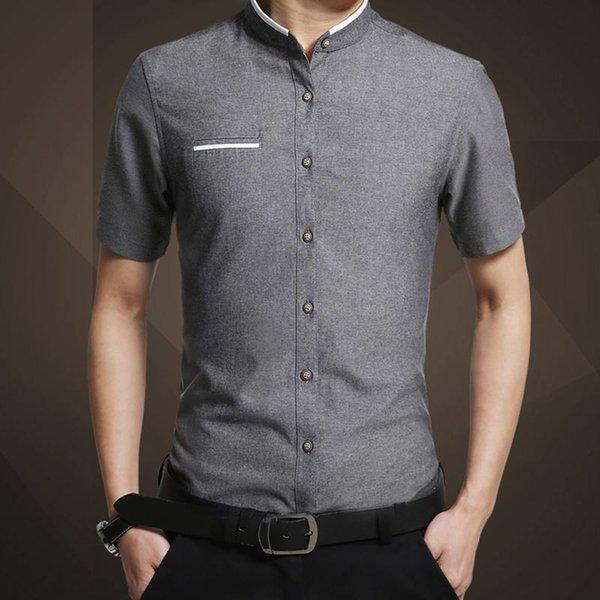 Camicia a maniche corte per uomo di marca moda estate 2019 Camicia a maniche corte per uomo slim fit estiva M-5xl Camicia uomo casual T2190608