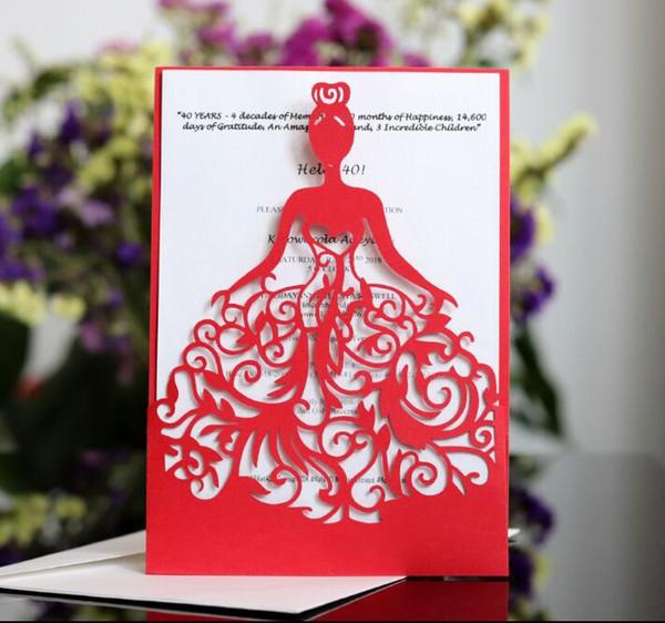 Compre Envío Gratis Lady Girl Dress Silueta Laser Cut Invitaciones Tarjetas Invitación Quinceanera Invitación Dulce Dieciséis Invitación A 38 2 Del