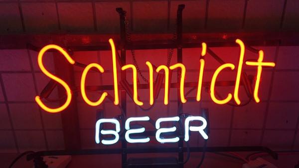 Schmidt Beer HANDGEFERTIGTE REAL GLAS ROHR BIER BAR PUB TAVERNE NEON LIGHT SIGN WAND DEKOR LAMPE