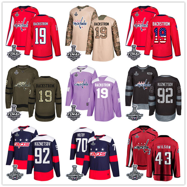 Costumbre capitales de Washington Jersey Ovechkin T. J. camiseta de hockey OSHIE Tom Wilson Nicklas Backstrom Braden Holtby Evgeny Kuznetsov EE.UU. Moda