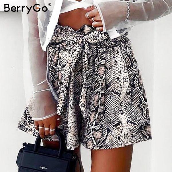 Berrygo Sexy Cobra Impressão Shorts Mulheres Sash Cintura Alta Elástico Verão Shorts Casuais Streetwear Do Vintage Moda Curto Inferior 2019 J190430