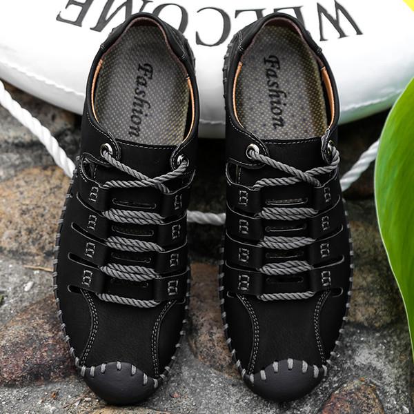 2019 Novos Sapatos Masculinos de Couro Genuíno Dos Homens Sandálias de Verão Homens Sapatos de Praia Sandálias Homem Moda Ao Ar Livre Sapatilhas Casuais Tamanho 48