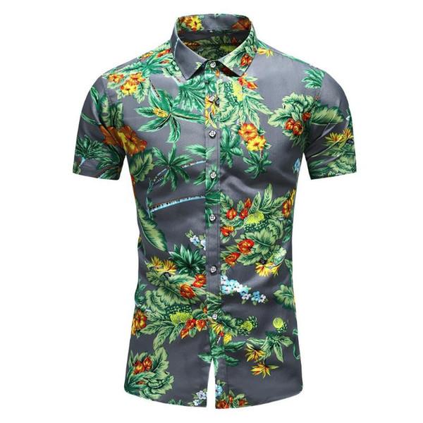 Hawaiian Shirt Mens Chemise Summer Button Hawaii Print Beach Pocket Short Sleeve Quick Dry Top Blouses Men 2019,Yellow,XXL,United States