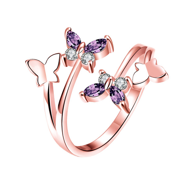 Adjustable Band Rings Tin Alloy Four Butterflies Prong Mosaic Zircon Ring Fashionable Lovely Small Fresh Jewelry New Year Gifts POTALA094-B