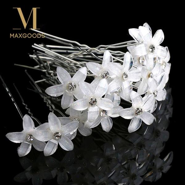 20pcs/set White Flowers Hairpin Stick Wedding Women Bridal Crystal Flowers Hairpin U Shaped Hair Clip Hair Accessories Wholesale