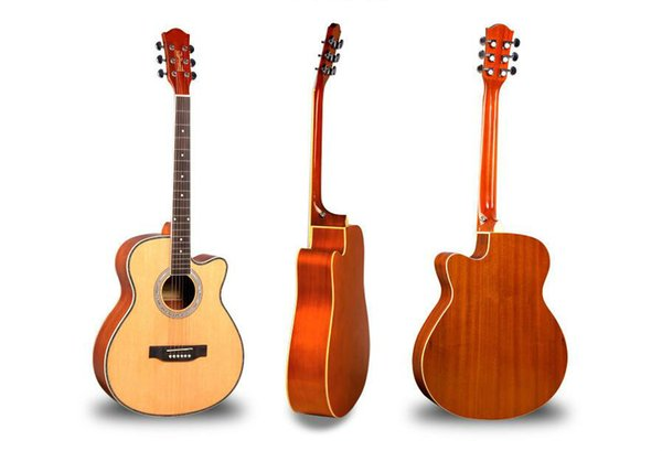 acústica especial luz picea de la guitarra Sapele tira de color de entrada principiante de guitarra de 40 pulgadas envío libre practican instrumento musical