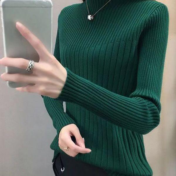 Ladies inverno camisola de malha de algodão gola Tops Office Lady Doce Fino manga comprida Pullover Camisolas S1