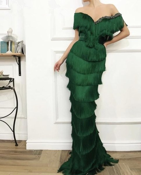 Arabic Dubai Wavy Emerald Green Tassel Evening Dresses Mermaid Crystal Off the Shoulder Elegant Long Women Formal Prom Dresses