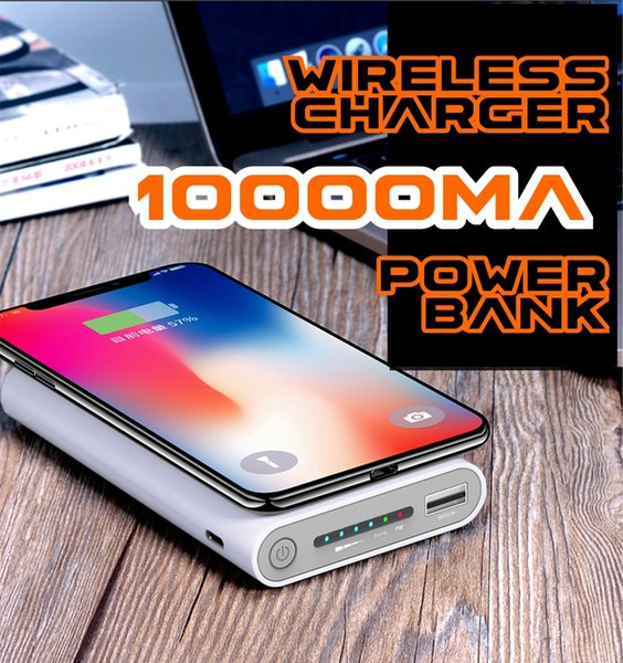 2018 Hot sell 10000mA Wireless Charger Power Bank for iphone 7/8/X samsung galaxy s7/s8 10000 mAh Portable Powerbank Mobile Phone Charger