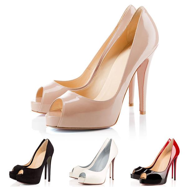 Luxusmarke Designer High Heels Lackleder Spitz Frauen Pumpt Rote Bottoms 12 CM 14 CM Hochzeit Kleid Schuhe Tanzparty 35-42