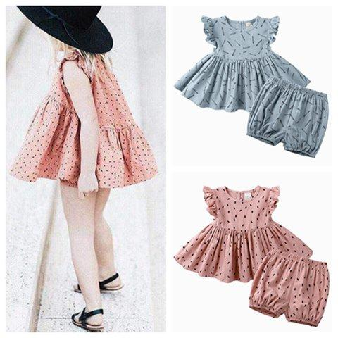 2019 baby girl summer outfits kids boutique clothing newborn baby girl clothes infant girls ruffle sleeve dress tops + shorts 2pcs sets INS