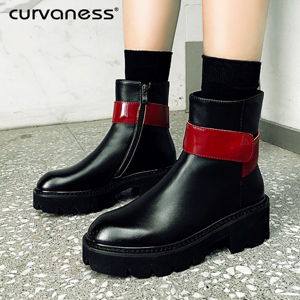Curvaness Spring Autumn Ankle Boots Women Platform Boots Rubber Sole Black Genuine Leather High Heels Shoes Woman Comfortable