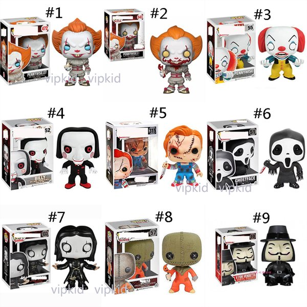 Funko POP palhaço brinquedos Filmes Saw Stephen King Ele Joker Clown Character Pennywise PVC bonecas brinquedos Mobiliário artigos melhores presentes B1