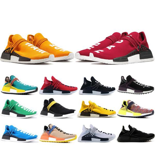 Ücretsiz Kargo İnsan Yarışı Hu iz pharrell williams Koşu ayakkabı Erkekler Nerd siyah krem erkek eğitmen kadın tasarımcı spor sneakers Boyutu 5-12