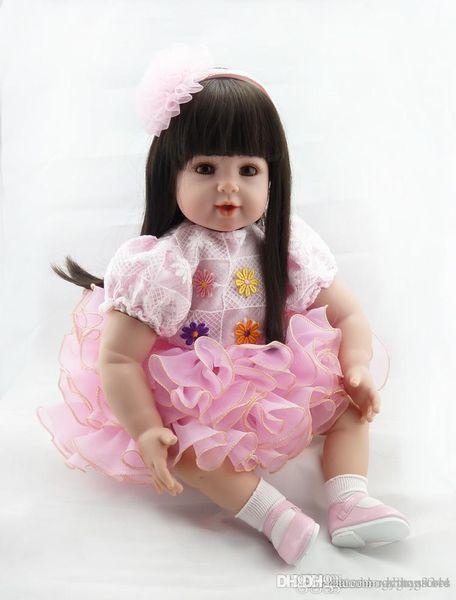 Wholesale- New bebe girl reborn menina de silicone menina 50 cm doll Straight hair princess babies for girls Toys gift baby born Dolls