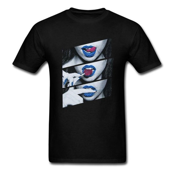 Personality Men'S Blue Lips Sexy Girl Zomer O-Neck Short-Sleeve T Shirts