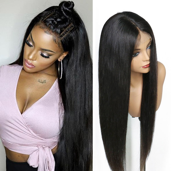 Прямые волосы парик шнурка с волос младенца Бразильское Виргинские человеческих волос полные парики шнурка для женщин Natural Color