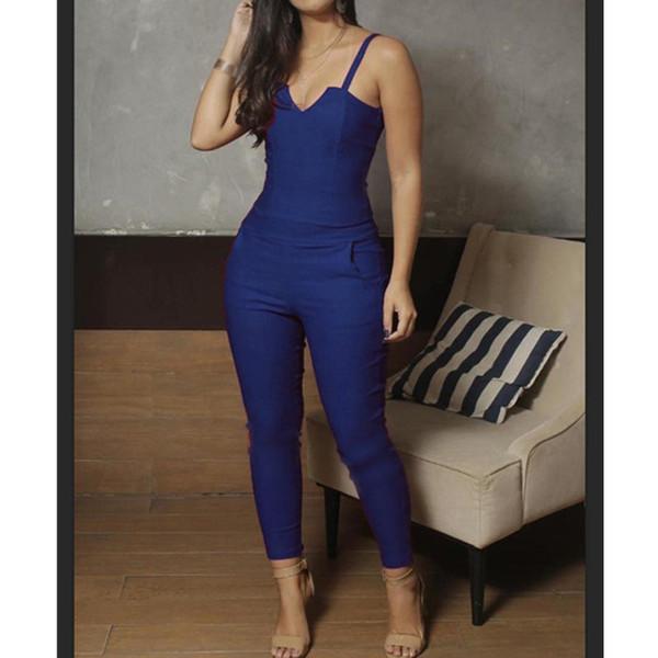 Fashion Elegant Women Slim Jumpsuits Solid Zipper Party Long Jumpsuits Sexy Club V-Neck Spaghetti Strap Sexy Romper