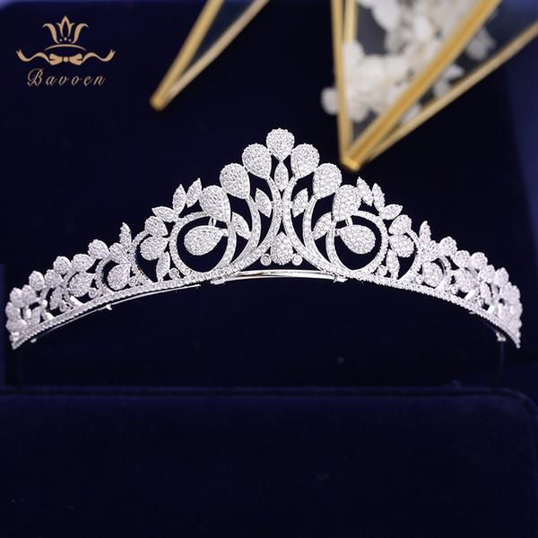 Bavoen High-end Full Zircon Noivas Coroas Tiaras Banhado A Cristal Wedding Hairbands Acessórios Para o Cabelo de Noite de Prata Jóias Prom T190628