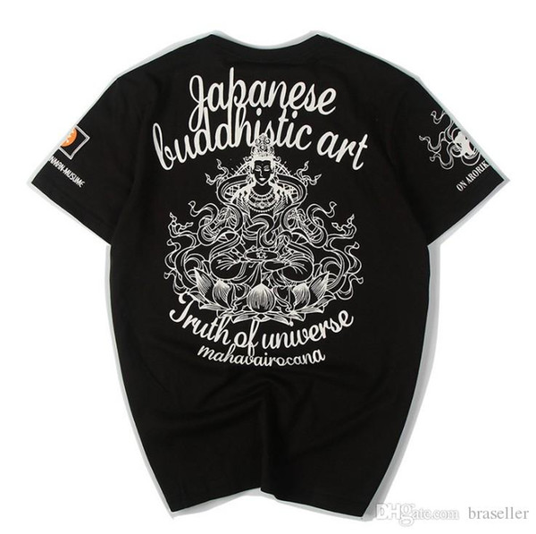 Moda Maré Marca T-shirt Designer de Camisa Dos Homens Letra Folk-custom Guanyin Imprimir Tshirt Homens e Mulheres Tee Top Casual Camisa Streetwear