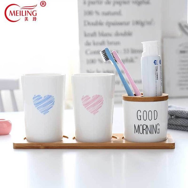 White Porcelain Bathroom Set Bamboom Tray Toothbrush Holder Cup Ceramic Toilet Storage Organizer Home Accessories Decoration Hot Y19061804
