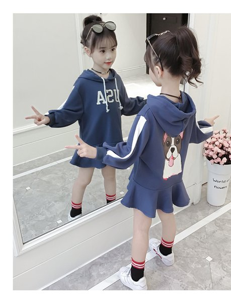 Big Girls Dress New Spring Autumn Kids Girls Clothing USA Letters Printed Hoodies Dress Children Fashion Casual Dress 3-13T 2 colors