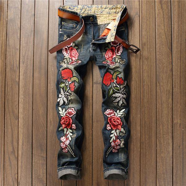 plus size designer vintage retro jeans men worn denim trousers fashion light blue straight jeans stitching rose embroidery