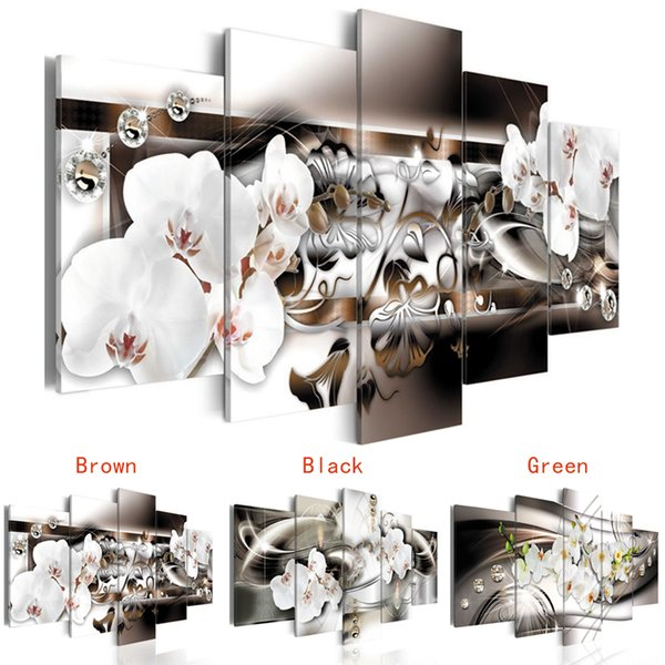 Acheter Sans Cadre 5 Pièces Abstraite Ligne Fond Orchidée Fleurs Lumineux Coloré Toile Moderne Mur Art Peinture Maison Salon Décoration De 22 97 Du