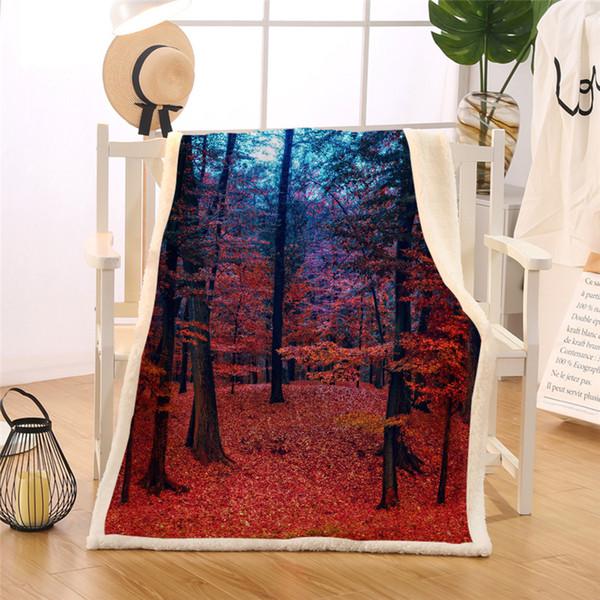BlessLiving natürliche Ahornwalddecke rustikaler Herbst Herbst Baum Sherpa Flanell Fleece Decke Waldland rote Couch Manta