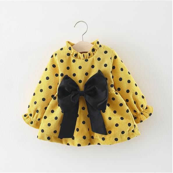 Baby Girls Princess Sweet Princess Birthday Dress Bow-Knot Dot Print Dresses For Infant Thick Warm Winter Toddler Clothes 0-2 Y