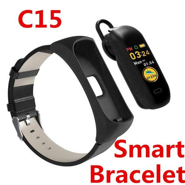 C15 Smart Talk Armband Uhr Bluetooth Sport Herzfrequenz Hand erhoben hellen Bildschirm Unterstützung Handy Stimme Wechat QQ Facebook Twitter
