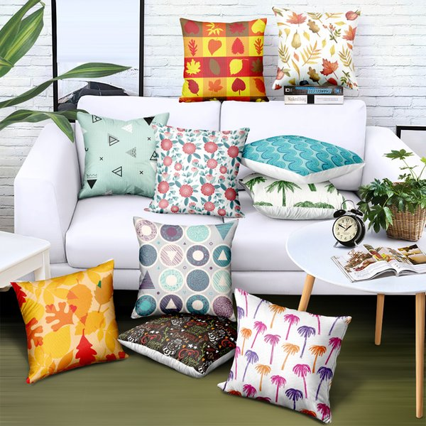 Benutzerdefinierte Dekoration Kissenbezug Korea Satin Stoff Geometrische Gedruckt 38 Arten Marke Werbung Geschenke Sofa Autostuhl Sitzkissenbezüge