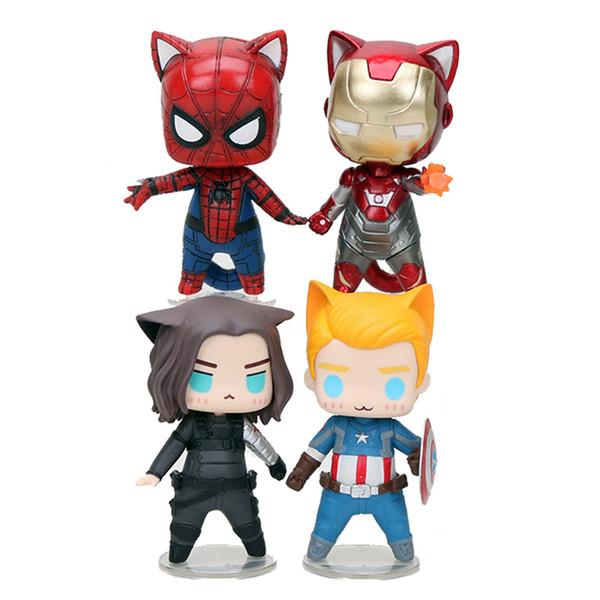 Marvel Avengers Captain America Wintersoldat Iron Man Spiderman Katze Q Version Action Figure Modell Spielzeug 8 cm