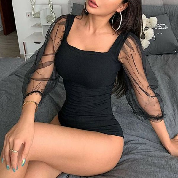 Fall 2019 Sexy Women Bodysuit Bodycon Jumpsuit Long Mesh puff sleeve Romper Leotard Tops Blouse Fashion Clothes Female Clothing