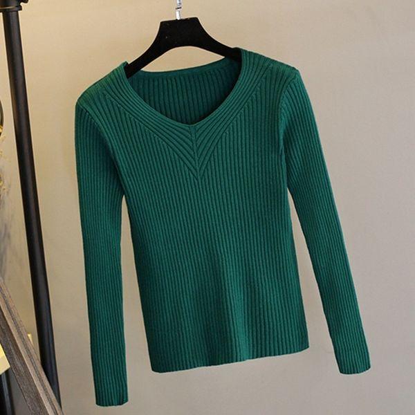 Теплый толстый ребристый вязаный женский свитер Осень-Зима Сексуальный свитер-свитер Топ Высокая эластичность с V-образным вырезом Мягкий женский джемпер